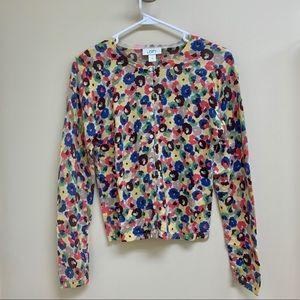 Ann Taylor Loft floral wool cardigan